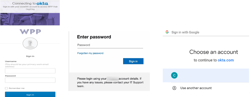 Different sign-in screens for Okta