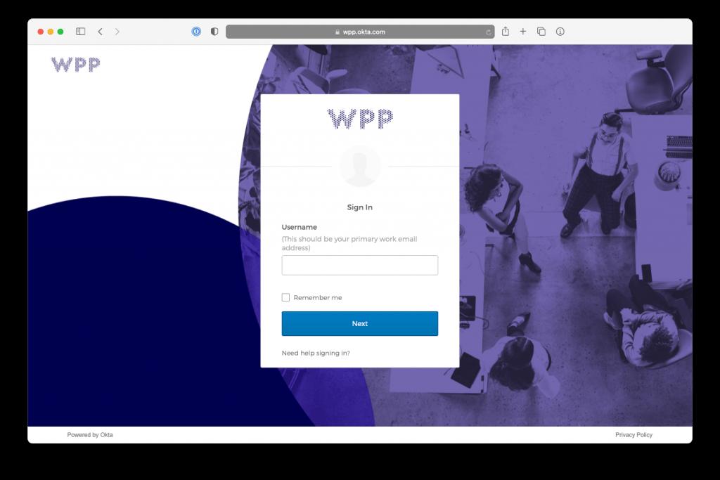 The login screen from WPP Okta